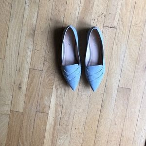 Grey Flats Size 9 with criss cross design on front